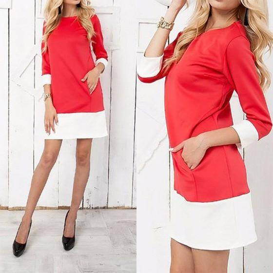 Casual Red Patchwork Pockets Round Neck 3/4 Sleeve Mini Dress