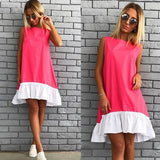 ByChicStyle Casual Red Patchwork Ruffle Irregular Round Neck Fashion Mini Dress