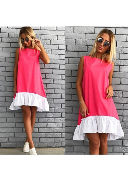 Casual Red Patchwork Ruffle Irregular Round Neck Fashion Mini Dress