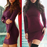 ByChicStyle Casual Red Plain Band Collar High Neck Long Sleeve Slim Club Mini Dress