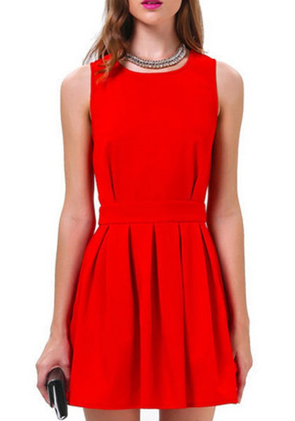 Casual Red Plain Buttons Cut Out Pleated Sleeveless Mini Dress