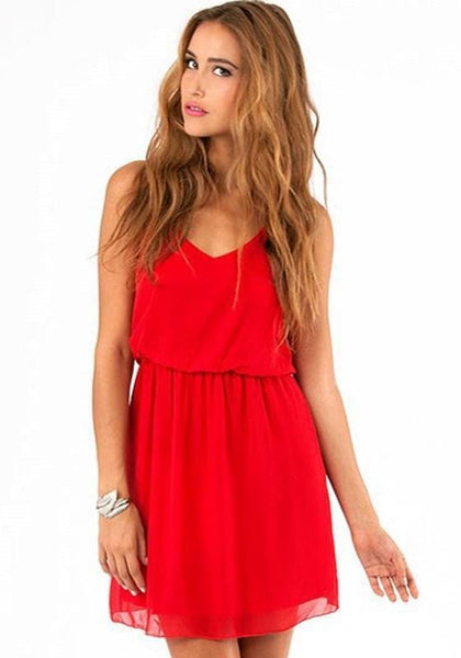 Casual Red Plain Condole Belt V-neck Sleeveless Chiffon Dress