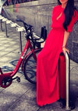 ByChicStyle Casual Red Plain Cut Out Round Neck Elbow Sleeve Maxi Dress