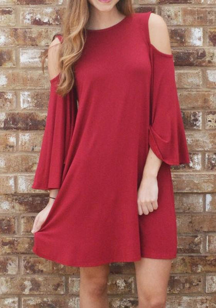 Casual Red Plain Cut Out Tie Back Round Neck Mini Dress