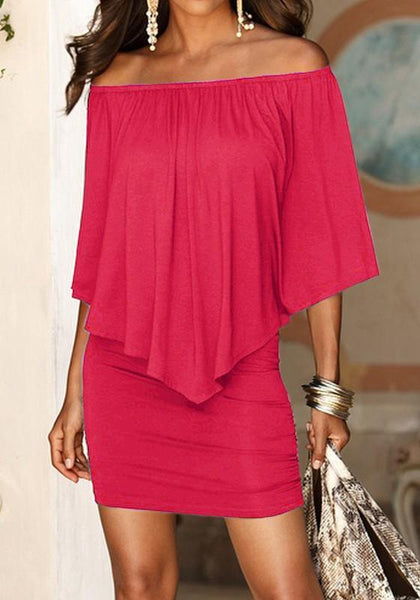 Casual Red Plain Draped Double-deck Boat Neck Elbow Sleeve Mini Dress
