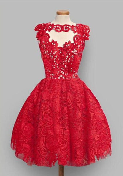 Casual Red Plain Lace Pleated Puffy Sweet Homecoming Party Mini Dress