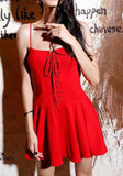 ByChicStyle Casual Red Plain Pleated Drawstring Condole Belt Mini Dress
