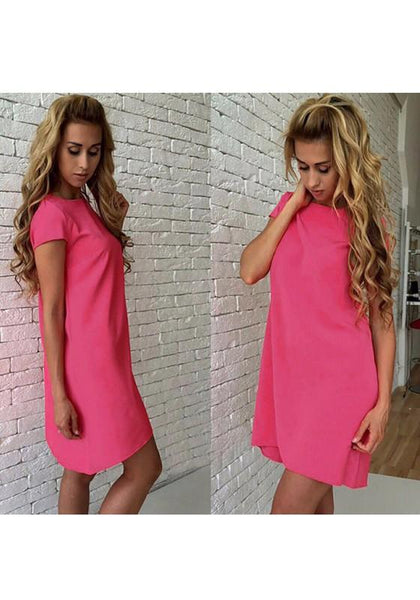 Casual Red Plain Round Neck Short Sleeve Casual Mini Dress