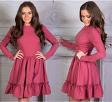 ByChicStyle Casual Red Plain Ruffle Round Neck Long Sleeve Mini Dress