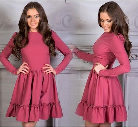 Casual Red Plain Ruffle Round Neck Long Sleeve Mini Dress