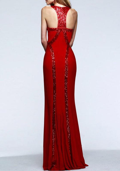 Casual Red Plain Sequin Design Mermaid Sleeveless Prom Maxi Dress