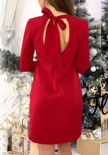 Casual Red Plain Tie Back Cut Out Open Back Elegant Mini Dress