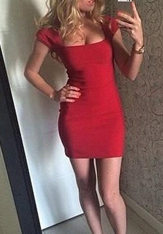 Casual Red Plain U-neck Short Sleeve Mini Dress