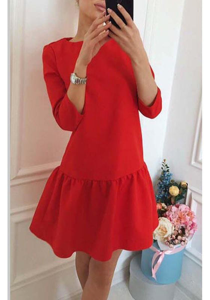 Casual Red Pleated Ruffle Round Neck 3/4 Sleeve Fashion Mini Dress