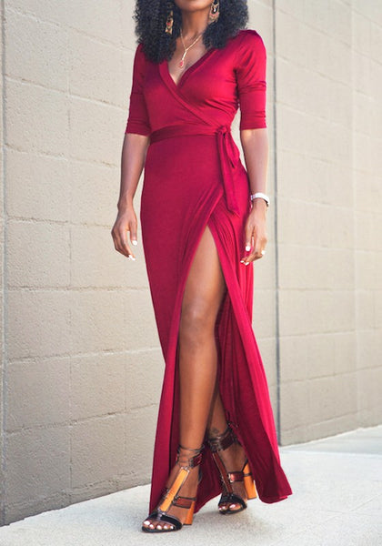 Casual Red Sashes Side Slit V-neck Elbow Sleeve Fashion Maxi Dress