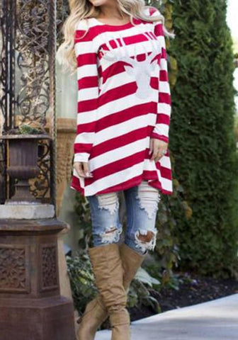 Casual Red Striped Animal Print Long Sleeve Fashion Cotton Mini Dress