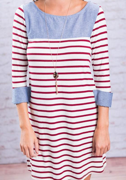 Casual Red Striped Pattern Round Neck Streetwear Cotton Mini Dress