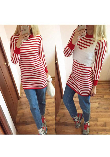 Casual Red Striped Print 2-in-1 Round Neck Long Sleeve Mini Dress