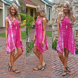 ByChicStyle Casual Red Striped Tie Dye Print Irregular Round Neck Loose Casual Mini Dress