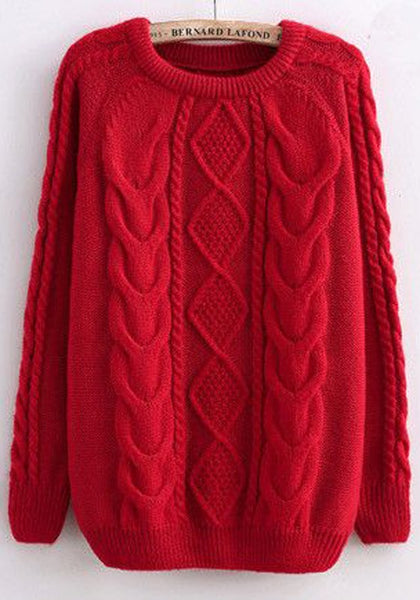 Casual Red Twist Pattern Round Neck Casual Pullover Sweater