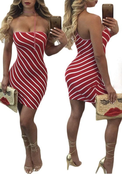 Casual Red-White Striped Bandeau Off Shoulder Halter Neck Bodycon Club Mini Dress