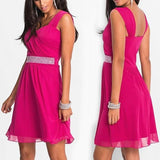 ByChicStyle Casual Rose Carmine Patchwork Sequin Round Neck Sleeveless Mini Dress