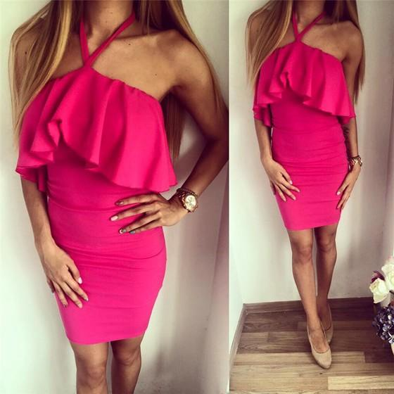 Casual Rose Carmine Plain Condole Belt Ruffle Collarless Sleeveless Mini Dress