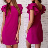 ByChicStyle Casual Rose Carmine Plain Pleated Round Neck Casual Cotton Mini Dress