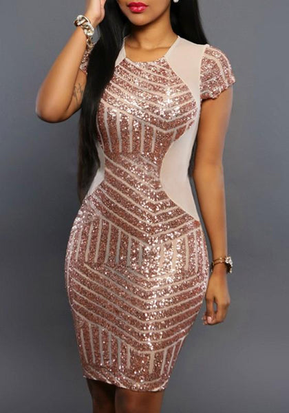 Casual Rose Gold Patchwork Sequin Round Neck Short Sleeve Bodycon Mini Dress