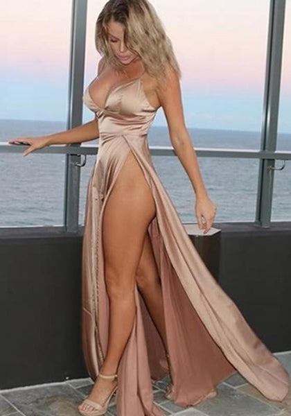 Casual Rose Golden Irregular Zipper High-Slit Deep V Spaghetti Strap Party Maxi Dress