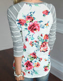 ByChicStyle Casual Back To School Round Neckline Little Floral Print Top