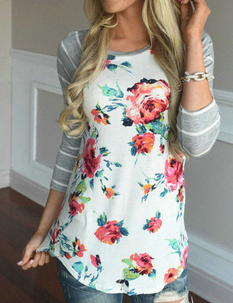 Casual Back To School Round Neckline Little Floral Print Top