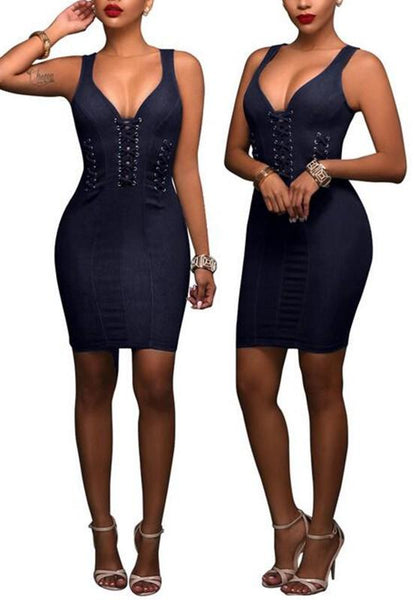Casual Sapphire Blue Plain Cut Out Zipper Backless Sleeveless Bodycon Denim Mini Dress
