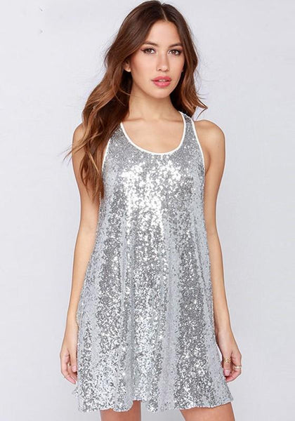 Casual Silver Plain Sequin Draped Dress