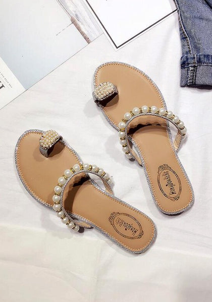 Casual Silver Round Toe Flat Beads Fashion Slippers