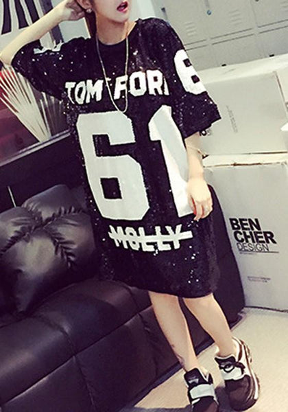 Casual Silver Sequin Letter Print Short Sleeve Loose Fashion Mini Dress