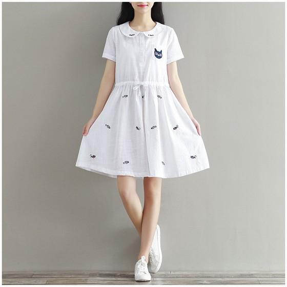 Casual White Animal Embroidery Cat Peter Pan Collar Sweet Linen Cotton Mini Dress