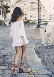 ByChicStyle Casual White Bandeau Ruffle Embroidery Off Shoulder Mini Dress