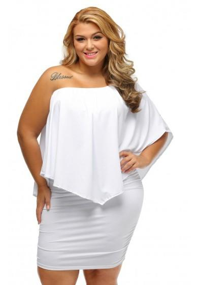 Casual White Bandeau Ruffle Off Shoulder Backless Plus Size Mini Dress
