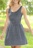 ByChicStyle Casual White-Black Striped Pleated Round Neck Sleeveless Fashion Mini Dress