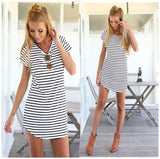 ByChicStyle Casual White-Black Striped Print Irregular Short Sleeve Fashion Casual Dress