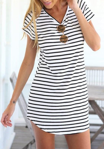 Casual White-Black Striped Print Irregular Short Sleeve Fashion Casual Dress