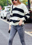 ByChicStyle Casual White-Black Striped V-neck Long Sleeve Oversized Pullover Sweater