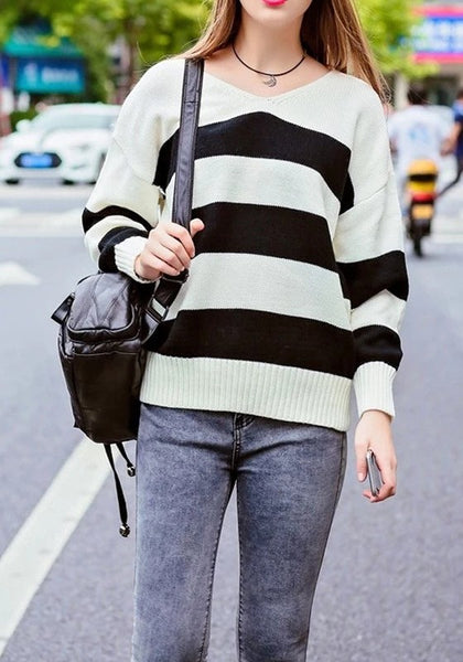 Casual White-Black Striped V-neck Long Sleeve Oversized Pullover Sweater