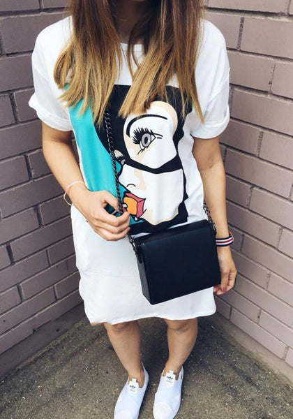 Casual White Cartoon Pattern Round Neck Streetwear Cotton Mini Dress