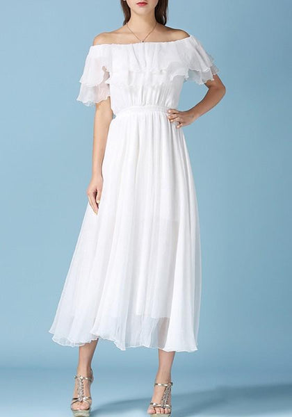 Casual White Cascading Ruffle Pleated Off Shoulder Elegant Beach Maxi Dress