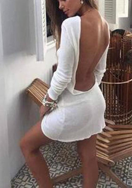 Casual White Draped Backless Boat Neck Long Sleeve Mini Dress