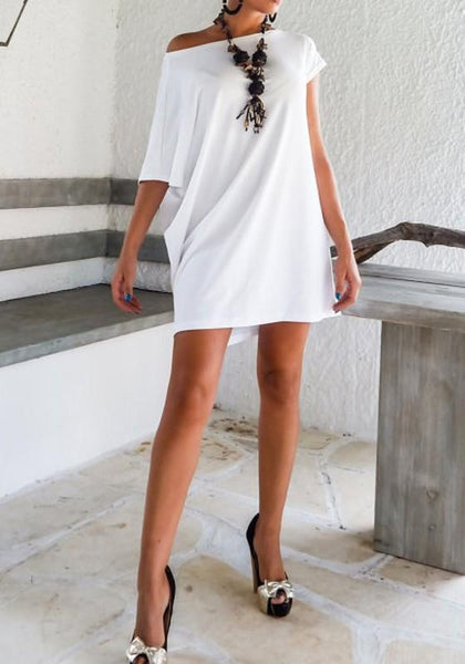 Casual White Draped Irregular Round Neck Short Sleeve Mini Dress