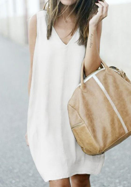 Casual White Draped Irregular V-neck Sleeveless Casual Mini Dress