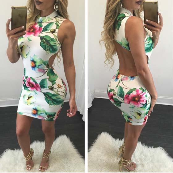 Casual White Floral Cut Out Round Neck Sleeveless Mini Dress
